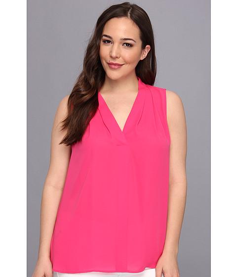 Bluze Vince Camuto - Plus Size S/L V-Neck Blouse - Dark Pink