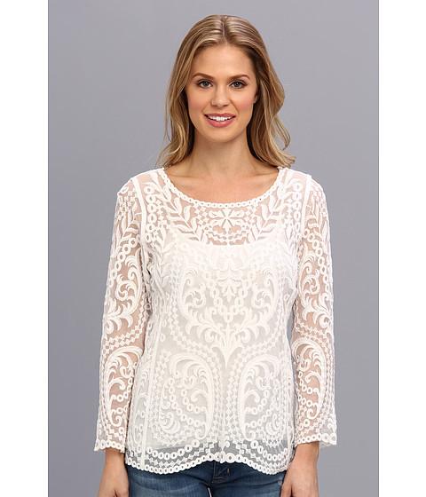 Bluze Calvin Klein - L/S Embroidered Tulle Top - White