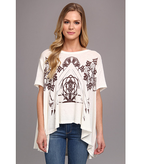 Bluze Free People - Graphic Circle in the Sand - White
