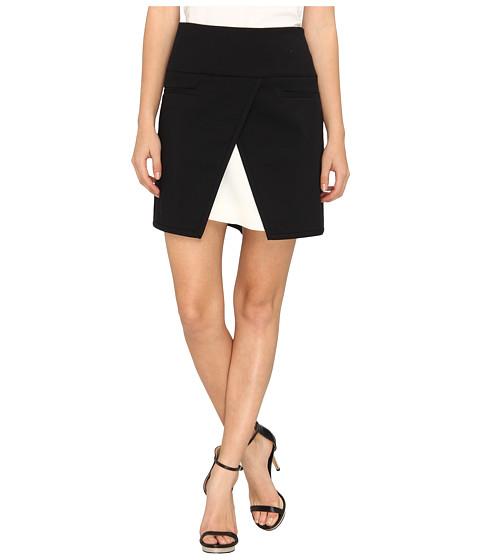 Fuste Tibi - City Stretch Skirt w/ Bibelot Crepe Combo - Black Multi