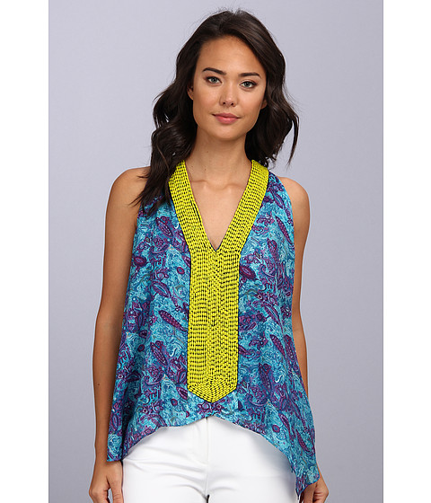 Bluze Tbags Los Angeles - V-Neck Sleeveless Tunic w/ Citron Seed Bead EMB - Turquoise