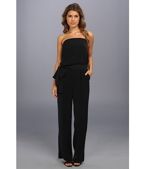 Pantaloni DKNY - Strapless Wide Leg Jumpsuit w/ Self Belt - Black