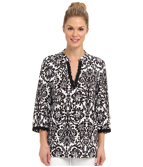Bluze Jones New York - 3/4 Sleeve Tunic - Black/White