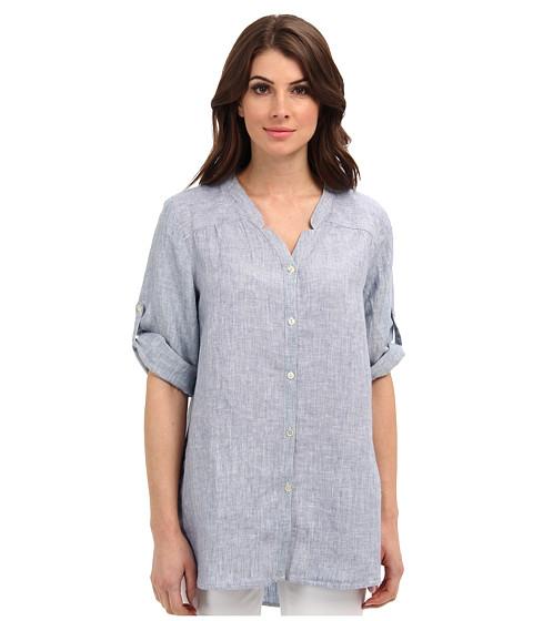 Bluze Jones New York - Notched Collar Roll Sleeve Shirt - Chambray