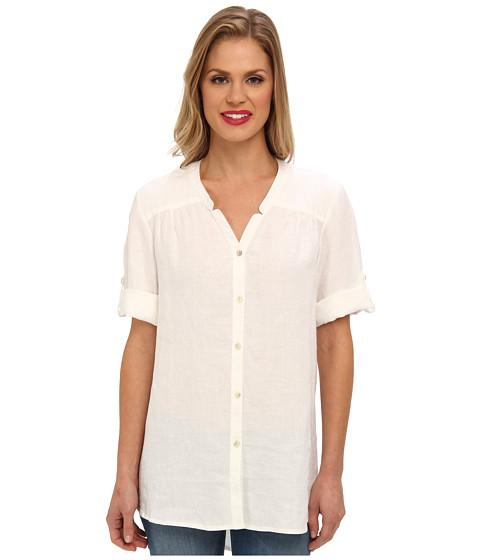 Bluze Jones New York - Notched Collar Roll Sleeve Shirt - White