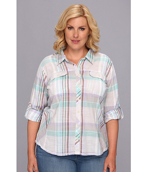 "Camasi Columbia - Plus Size Camp Henryâ""¢ L/S Shirt - Moonstone Plaid"