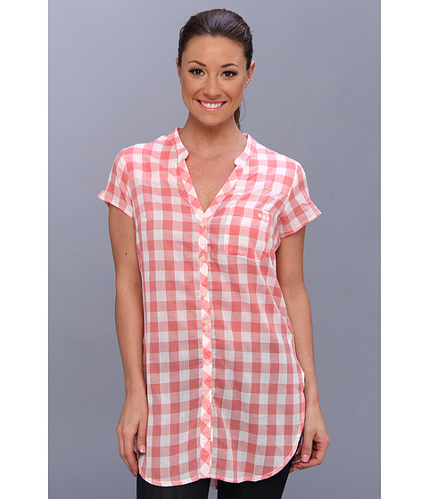"Camasi Columbia - Sun Drifterâ""¢ Tunic Shirt - Hot Coral Gingham"
