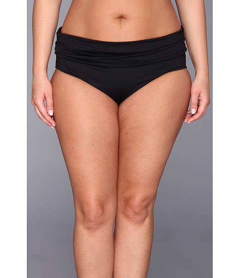 Costume de baie La Blanca - Plus Size Island Shirred Band Hipster w/ Tummy Control - Black