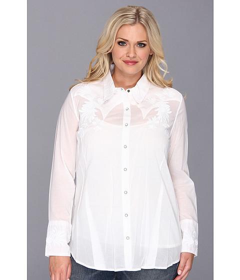 Bluze Stetson - Plus Size 8973 White Voile Long Sleeve Shirt - White