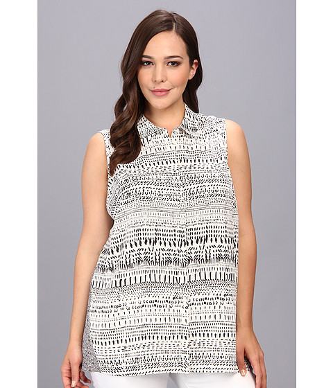 Bluze DKNY - Plus Size Speckle Stripe Crepe Sleeveless Button Thru Mix Print Blouse - Light Ivory