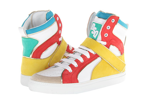 Adidasi DSQUARED2 - Hockey High Top Trainer - White/Coral/Yellow