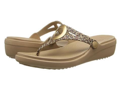 Sandale Crocs - Sanrah Leopard Wedge - Gold/Black
