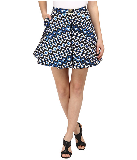 Fuste Versace - Graphic Print Pleated Skirt - Bluette