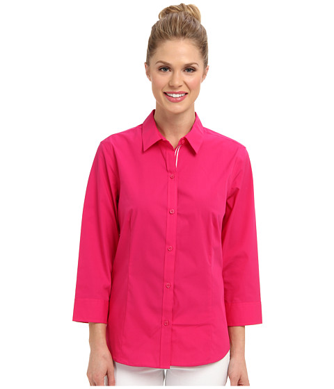Camasi Jones New York - 3/4 Sleeve Button Front Shirt - Fuchsia