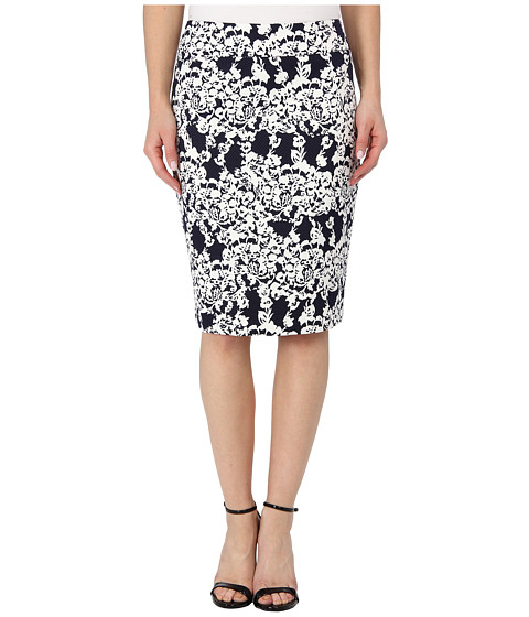 Fuste Nine West - Printed Jacquard Straight Skirt - Navy/White