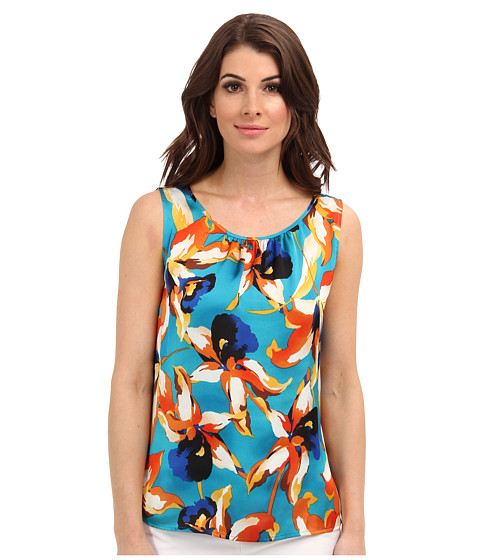 Bluze Nine West - Printed Pintuck Cami - Ocean/Melon Multi