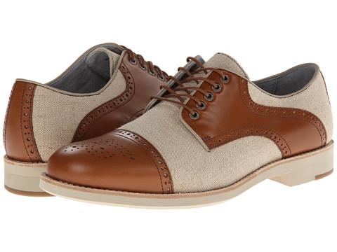 Pantofi Johnston & Murphy - Ellington Cap Toe Saddle - Tan Full Grain & Natural Linen