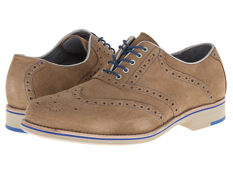 Pantofi Johnston & Murphy - Ellington Wingtip - Beige Suede & Royal