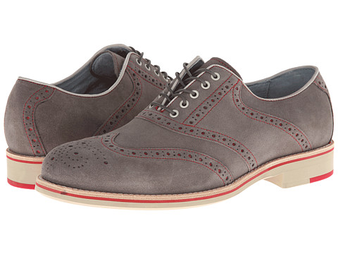 Pantofi Johnston & Murphy - Ellington Wingtip - Gray Suede & Red
