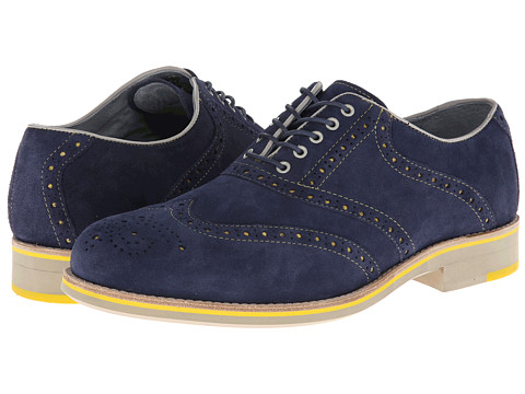 Pantofi Johnston & Murphy - Ellington Wingtip - Royal Blue Suede & Yellow