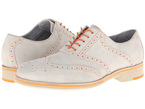 Pantofi Johnston & Murphy - Ellington Wingtip - White Suede & Orange