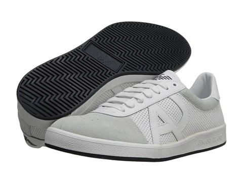 Adidasi Armani Jeans - Perforated Leather Sneaker - White