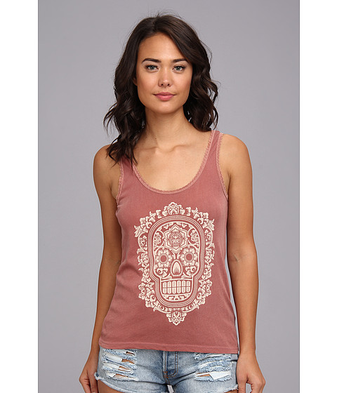 Bluze Obey - Day Of The Dead Floral Tank - Dusty Burnt Henna