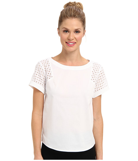 Bluze Anne Klein New York - Scoop Neck Blouse w/ Eyelet Sleeve - White