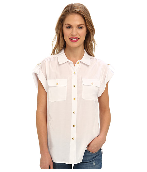 Bluze Jones New York - Drop Shoulder Two Pocket Button Front Shirt - White