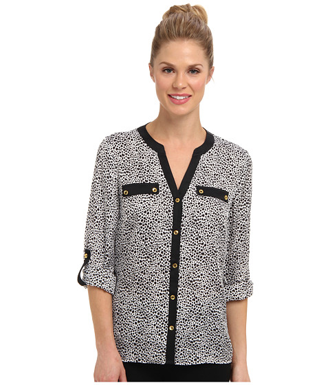 Bluze Jones New York - Rolled Sleeve Tunic - White/Black