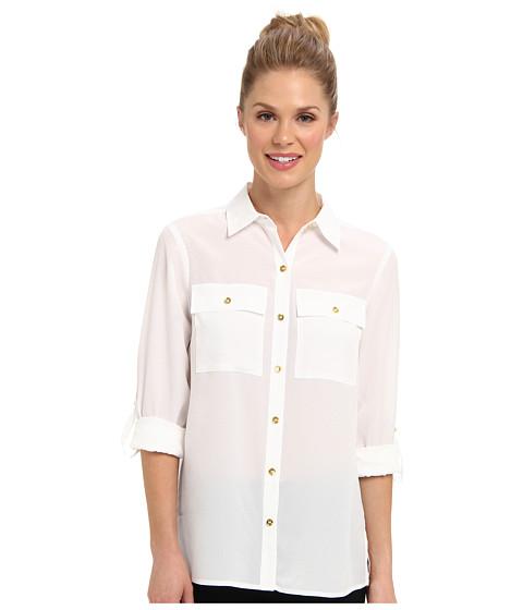 Bluze Jones New York - Utility Pocket Shirt w/ Buttons - White
