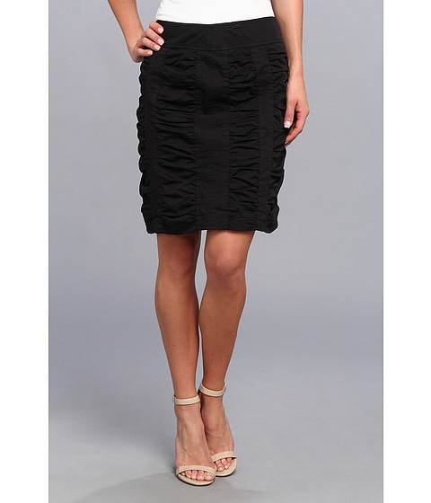 Fuste Christin Michaels - Side Zip Rouched Skirt Solid - Black