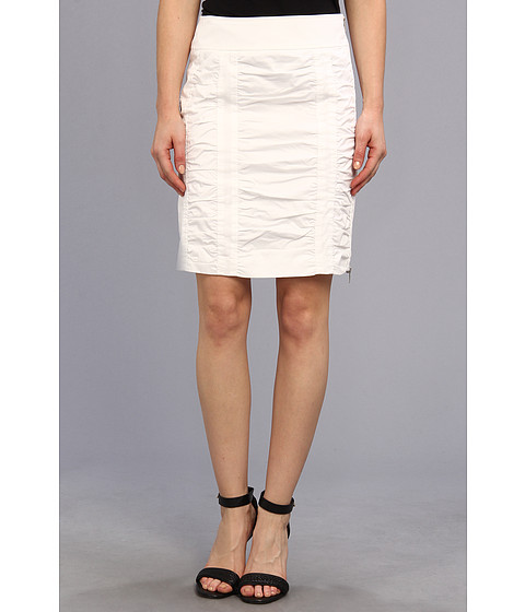 Fuste Christin Michaels - Side Zip Rouched Skirt Solid - White