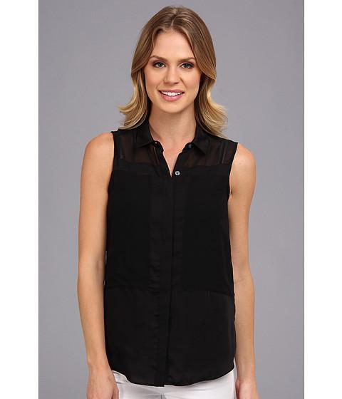 Bluze DKNY - Button Thru Blouse w/ Chiffon Piecing - Black