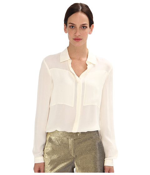 Bluze Armani Jeans - Long Sleeve Silk Blouse w/ Square Detail On Chest - Beige