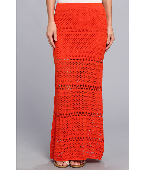 Fuste Roxy - Solimar Sun Maxi Skirt (Juniors) - Spicy Orange Holey Knit