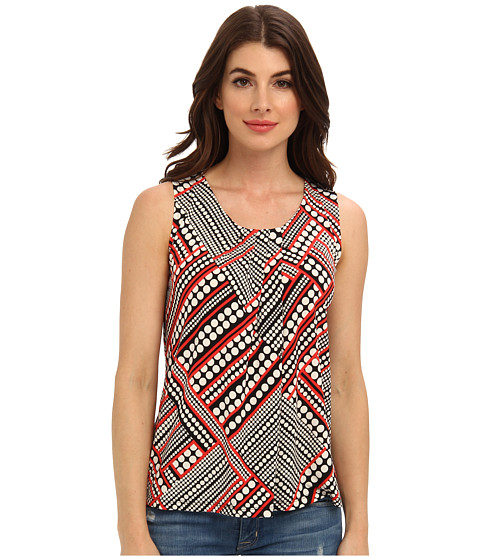 Bluze Anne Klein New York - Dot Print Pleat Neck Top - Black/Koi Multi