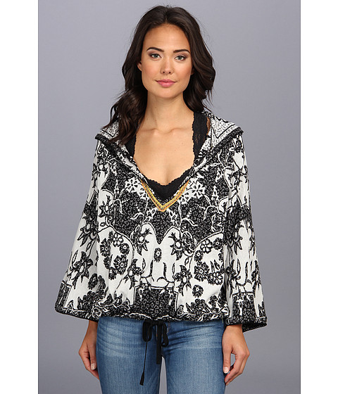 Bluze Free People - Patterned Popover Hoodie Sweater - Black And White