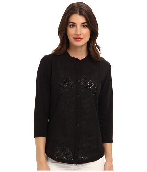 Bluze Jones New York - 3/4 Sleeve Button Front Shirt w/ Eyelet Front - Black