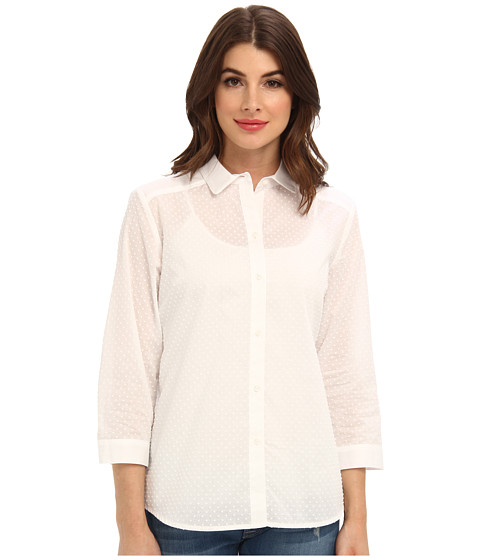 Bluze Jones New York - Relaxed 3/4 Sleeve Button Down Shirt - White