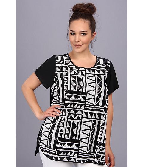 Bluze Vince Camuto - Plus Size Tribal Sequin Shirt Tail Blouse - Rich Black