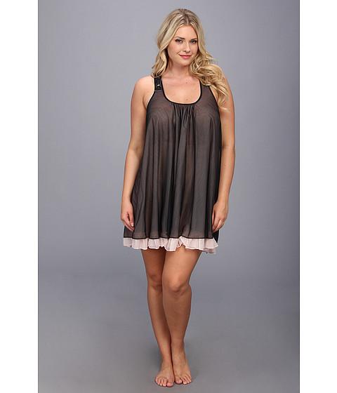 Lenjerie Betsey Johnson - Plus Size Sassy Double Layer Tricot Slip - Raven Black/Soft Pink