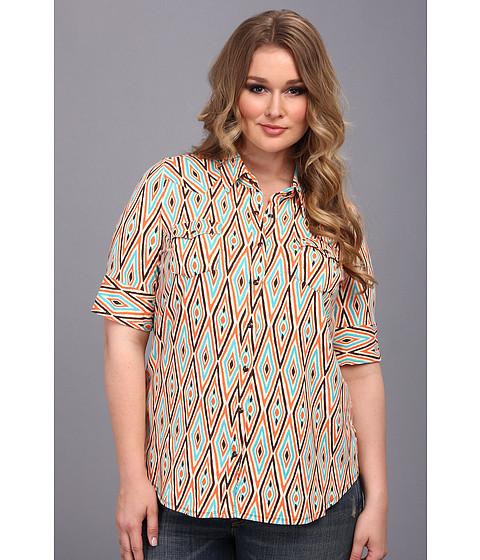 Bluze Stetson - Plus Size 8970 Diamond Aztec Print Shirt - Orange