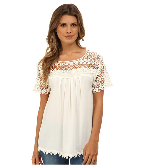 Bluze Gabriella Rocha - Lace Short Sleeve Top - White
