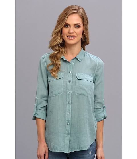 Bluze Calvin Klein - Solid Casual Button Front Shirt - Blue Wind