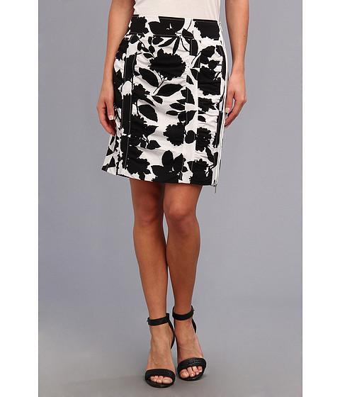 Fuste Christin Michaels - Susan Rouched Pencil Skirt - Black/White