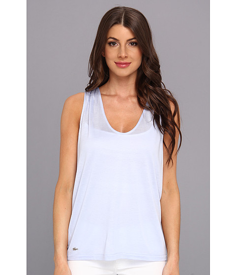 Bluze Lacoste - Sleeveless Slub V-Neck Tee-Shirt - Frost Blue