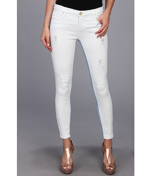 Blugi Blank NYC - Intro Two-Tone Crop Skinny in Blue/White - Blue/White
