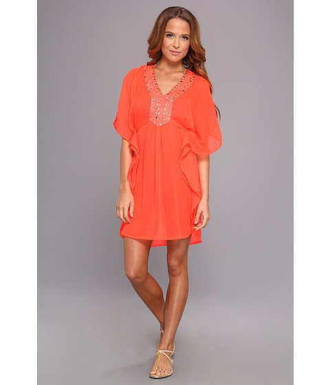 Lenjerie Steve Madden - Solid Short Tunic Coverup - Hot Coral