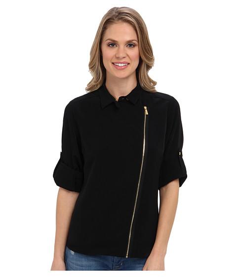 Bluze Calvin Klein - Moto Roll Sleeve w/ Collar - Black